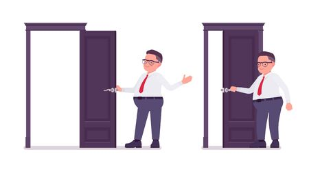 Fat male clerk opening and closing a door. Heavy middle aged business guy, office manager, civil service worker, typical employee in a plus size formal wear. Vector flat style cartoon illustration