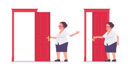 Fat female clerk opening and closing a door. Heavy middle aged business lady, office manager, civil service worker, typical employee in a plus size formal wear. Vector flat style cartoon illustration Ilustração