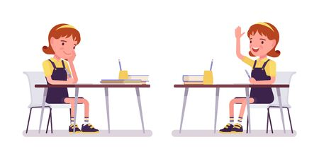 Niña de la escuela que estudia en el escritorio, levante la mano para hablar. Pequeña dama linda con un vestido delantal, niño activo, alumno de primaria inteligente de entre 7 y 9 años. Ilustración de dibujos animados de estilo plano de vector Ilustración de vector