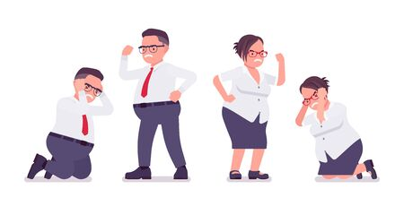 Fat male, female clerk, negative emotion. Unhappy heavy middle age business people, office manager, civil service worker, typical employee plus size formal wear. Vector flat style cartoon illustration Stok Fotoğraf - 137679309