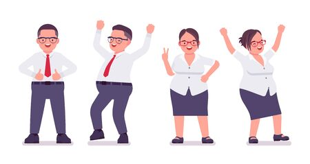 Fat male, female clerk, positive emotions. Happy heavy middle age business people, office manager, civil service worker, typical employee, plus size formal wear. Vector flat style cartoon illustration Stok Fotoğraf - 137679470