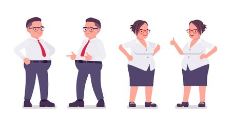 Fat male, female clerk in positive emotions. Heavy middle aged business people, office manager, civil service worker, typical employee in plus size formal wear. Vector flat style cartoon illustration Stok Fotoğraf - 137679477