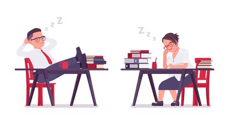Fat male and female clerk sleeping, resting at desk. Heavy middle aged business people, office manager and civil service worker, typical employee. Vector flat style cartoon illustration