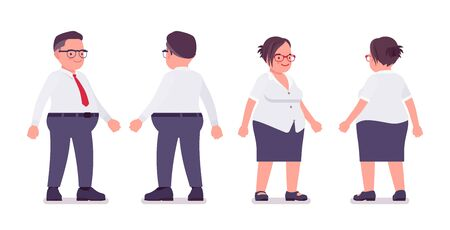 Fat male and female clerk standing. Heavy middle aged business people, office manager and civil service worker, typical employee in a plus size formal wear. Vector flat style cartoon illustration