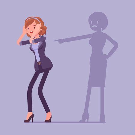Autoculparse las emociones, la culpa y el disgusto de la mujer. Situación estresante o depresión, abuso emocional, vergüenza, preocupación, infelicidad, responsable de culpa o mal. Ilustración de dibujos animados de estilo plano de vector Ilustración de vector