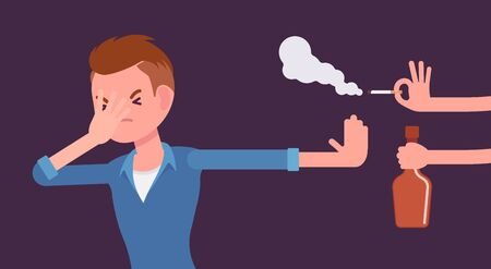 Bad habits refusal, boy against use of alcohol and smoking. Guy breaking or kicking, trying to get rid of drink and tobacco temptation, habit-control strategy. Vector flat style cartoon illustration Illustration