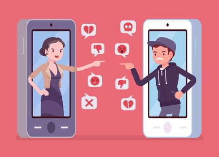 Cyberbullying, son and mother smartphone bullying and harmful gadget harassment. Generation gap problems, lack of understanding, offensive chat online to embarrass or humiliate. Vector illustration