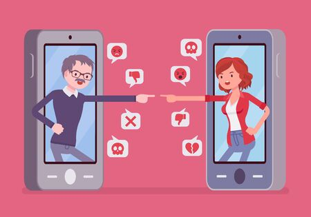 Cyberbullying, daughter, father smartphone bullying and harmful gadget harassment. Generation gap problems, lack of understanding, offensive chat online to embarrass or humiliate. Vector illustration