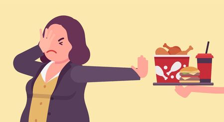 Junk fast food refusal, woman restricting herself. Saying no to cheap, tempting calories, dieting to lose weight, prevent and treat diseases, diabetes, obesity. Vector flat style cartoon illustration
