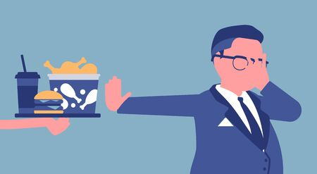 Junk fast food refusal, man restricting himself. Saying no to cheap, tempting calories, dieting to lose weight, prevent and treat diseases, diabetes or obesity. Vector illustration