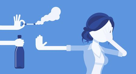 Bad habits refusal, girl against use of alcohol and smoking. Lady breaking or kicking, trying to get rid of drink and tobacco temptation, habit-control strategy. Vector illustration