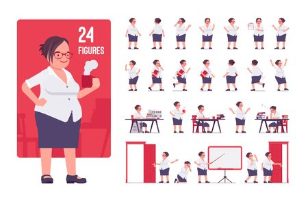 Fat female clerk, formal wear character set. Heavy middle age business woman, office manager, civil service worker, typical employee, plus size. Full length, different view, gestures, emotions, poses