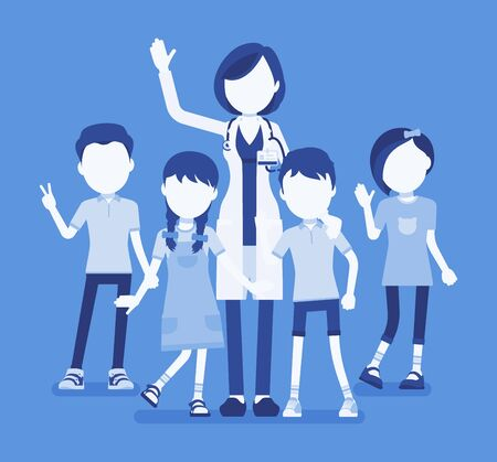 Female pediatrician doctor, medical practitioner for children. Professional physician, special training in kids care, to diagnose and treat childhood illnesses. Vector illustration