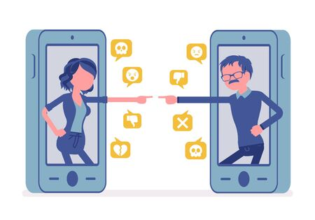 Cyberbullying, daughter, father smartphone bullying and gadget harassment. Generation gap problems, lack of understanding, offensive chat online to humiliate. Vector illustration, faceless characters