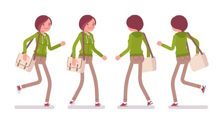 Young woman wearing a hoodie jacket walking and running. Cute lady in a casual hoody, youth city fashion hooded sweatshirt. Vector flat style cartoon illustration, front and rear view
