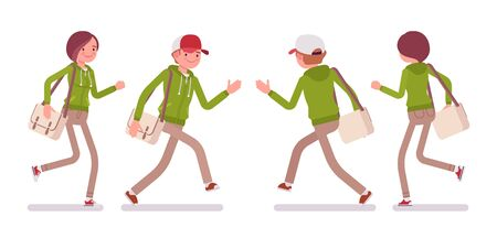 Young man and woman wearing a hoodie jacket running. Cute smart people in casual green hoody, youth city fashion hooded sweatshirt. Vector flat style cartoon illustration, front and rear view