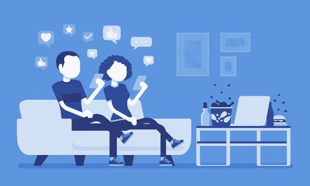 Gadget addiction, couple dependent on smartphones. People glued to screen, focusing on mobile device, social media obsession, virtual world instead routine. Vector illustration, faceless characters