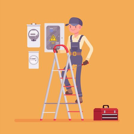 Electrician man, working to install, maintain electrical equipment. Male handsome worker providing electrical services, home, office inspections of wire system. Vector flat style cartoon illustration