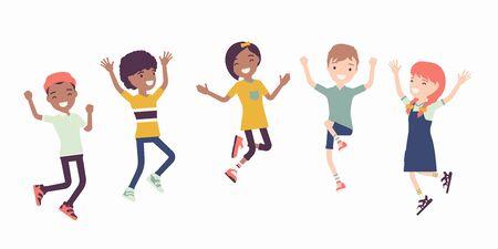 Niños alegres felices saltando de alegría. Niños lindos que se divierten, un grupo diverso de amigos de la escuela disfrutan de tiempo libre juntos, entretenimiento o actividades de vacaciones. Ilustración de dibujos animados de estilo plano de vector