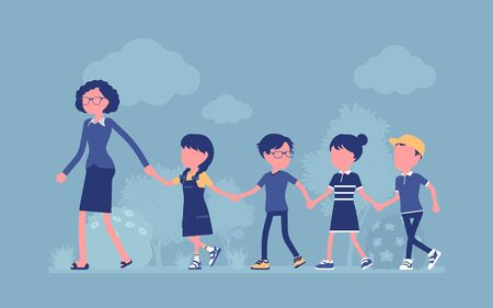 Children walking in line with a teacher. Kids going outdoor, safe elementary school or kindergarten road and street hiking for fun, education. Vector illustration, faceless character