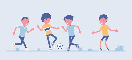 Street football young players. Amateur junior sport team playing soccer outdoors on a green grass yard, summer fun, hoody and entertainment, weekend activity. Vector flat style cartoon illustration