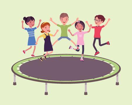 Trampoline jump kids entertainment. Outdoor bounce equipment for children