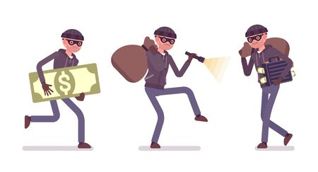 Thief, a masked man stealing money. Illustration