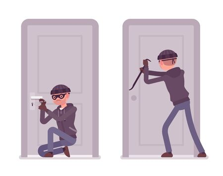 Thief trying to break into the door. Masked housebreaker working with a burglary tool Illustration