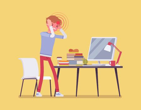 Male freelancer suffering with headache and migraine. Young overworked man tired, online networking stress and self-employment failures, frustrated on problem. Vector flat style cartoon illustration