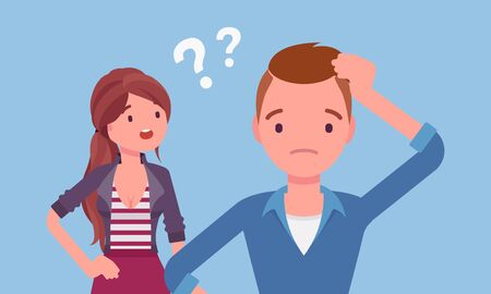 Misunderstanding, communication problem between man, woman. Couple feeling disagreement or quarrel, difference of opinion, failure to talk, marriage psychology. Vector flat style cartoon illustration