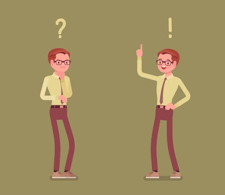 Problem and solution, man thinking, question, exclamation marks. Guy in problems analysis, finding efficient solving approaches, learning, understanding methods. Vector flat style cartoon illustration