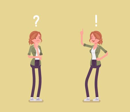 Problem, solution, woman thinking, question, exclamation marks. Girl in problems analysis, finding efficient solving approaches, learning, understanding methods. Vector flat style cartoon illustration Ilustração