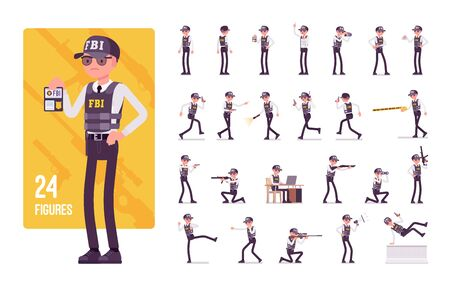 FBI agent character set. Federal Bureau of Investigation employee in bulletproof vest investigating crimes, enforcing federal laws, protecting. Full length, different view, gestures, emotions, poses