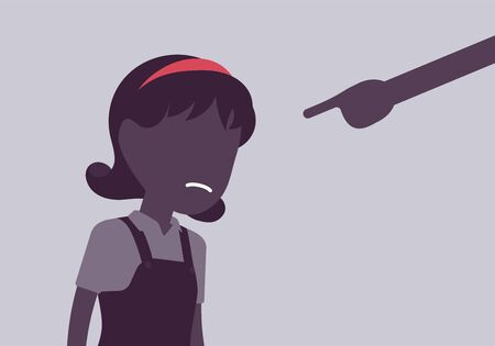 Punishment for girl, adult finger pointing to guilt, punish. Strict discipline strategies to control child behavior, physically or emotionally damaging method. Vector illustration, faceless character