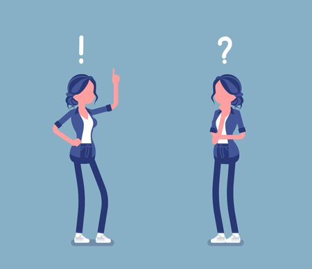 Problem, solution, woman thinking, question, exclamation mark. Girl in problems analysis, finding efficient solving approaches, learning, understanding methods. Vector illustration, faceless character Ilustração