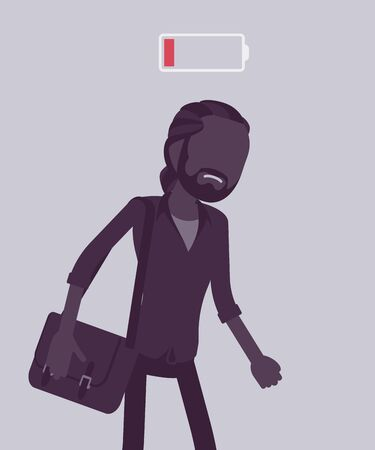 Discharged man, low power battery. Empty weary guy, feeling very tired, fatigued after working, extremely bored unmotivated employee lack of energy, enthusiasm. Vector illustration, faceless character