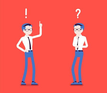 Problem, solution, man thinking, question, exclamation marks. Guy in problems analysis, finding efficient solving approaches, learning, understanding methods. Vector illustration, faceless characters