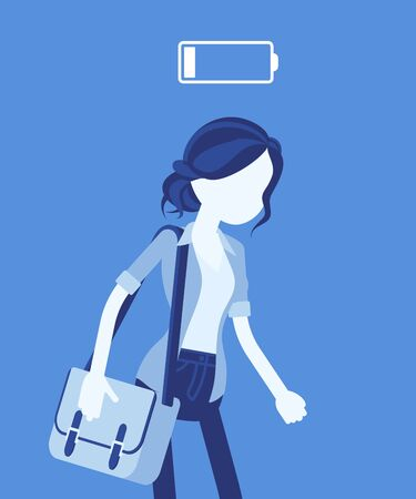 Discharged woman, low power battery. Empty weary girl, feeling tired, fatigued after working, extremely bored unmotivated employee, lack of energy, enthusiasm. Vector illustration, faceless character