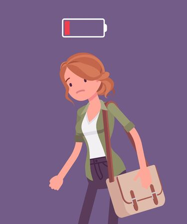 Discharged woman, low power battery. Empty weary girl, feeling tired, fatigued after working, extremely bored unmotivated employee, lack of energy, enthusiasm. Vector flat style cartoon illustration