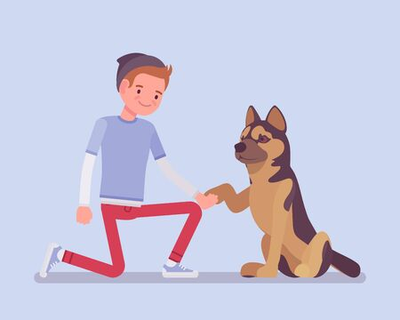 Boy with a pet dog friend. Happy guy teaching cute puppy giving a paw shaking hand, human and animal friendship for comfort and support, playful life companion. Vector flat style cartoon illustration 向量圖像