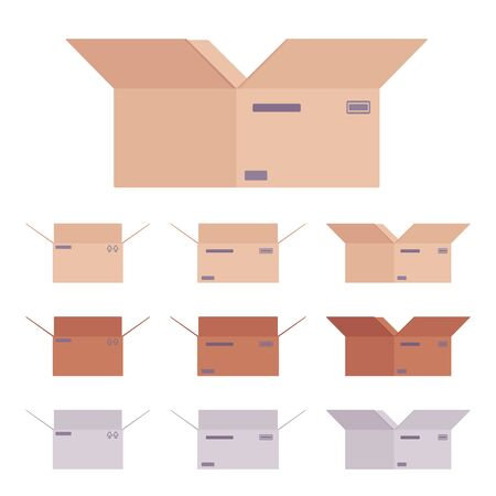 Moving open boxes cardboard set for packing household items, office books, kitchenware, clothes, appliances, parcel transportation. Vector flat style cartoon illustration, different colors and view