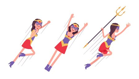 Female super hero in attractive costume flying pose. Effective wonder warrior, superpower woman with superior combat and battle skills, extraordinary lady. Vector flat style cartoon illustration Vektorgrafik