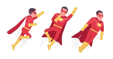 Male super hero in classic costume, flying pose. Heroic strong brave warrior, superpower man with superior combat, battle skills, successful extraordinary guy. Vector flat style cartoon illustration Vettoriali