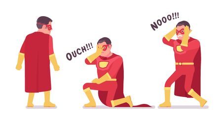 Male super hero in classic red costume negative emotions. Heroic strong brave warrior, superpower man with superior combat and battle skills, extraordinary guy. Vector flat style cartoon illustration
