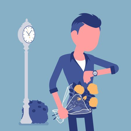 Young man waiting at the romantic date, checking time. Smart boyfriend with flower bouquet, unhappy lonely cheated male partner, anxiety on getting late friend. Vector illustration, faceless character