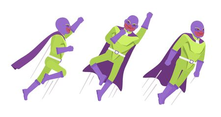 Male super hero in classic costume, flying pose. Heroic strong brave warrior, superpower man with superior combat, battle skills, successful extraordinary guy. Vector flat style cartoon illustration