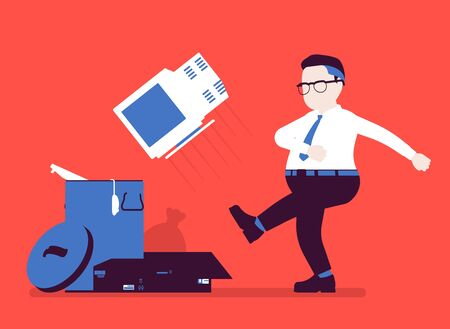 Getting rid of old personal computer. Office angry man kicking throwing away monitor into trash, broken device disposal, smashing used hardware for rubbish. Vector illustration, faceless character