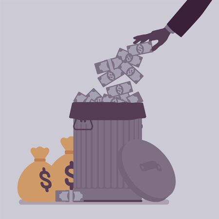 Unnecessary wastes of money, risky economy investment. Dollar cash thrown in dustbin, trash can budget, lost of profit, financial market error and ignorance. Vector flat style cartoon illustration
