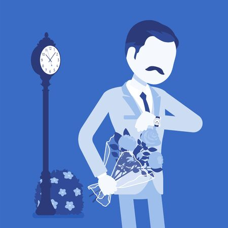 Man waiting at the romantic date, checking time. Elegant boyfriend with flower bouquet, unhappy lonely cheated male partner, anxiety on getting late friend. Vector illustration, faceless character