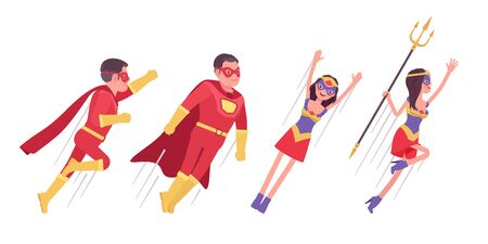 Male, female super hero wearing costume, flying up to attack or protect. Effective man, woman warrior with superpower combat, battle skills, heroic brave people. Vector flat style cartoon illustration